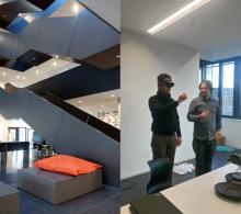 Collage aus 2 Fotos: Innenaufnahme des Gebäudes und Aufnahme von einem Teilnehmer mit aufgesetzter HoloLense und dem Referent Prof. Neudecker